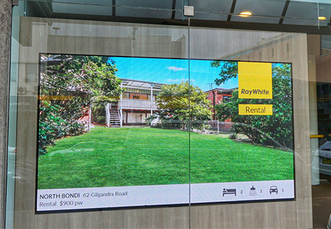 A real estate video wall